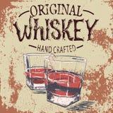 Stemware due del whiskey con effetto di lerciume Fotografia Stock