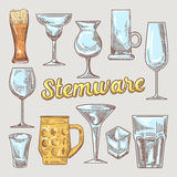 Stemware Hand Drawn Glasses. Different Glasses for Drinks Doodle Stock Photography