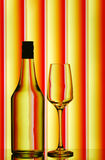 Stemware & liquor bottle Royalty Free Stock Photography