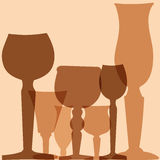 Stemware pattern. Glass in vector Stock Images
