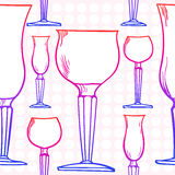 Stemware pattern. Glass in vector Stock Photos