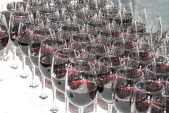 Stemware of red wine on a white table. Banquet Royalty Free Stock Photography