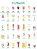 Stemware set, illustration on a white background.A collect Royalty Free Stock Image