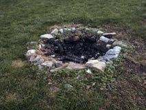 Sten fodrad lägerbrandcirkel Arkivfoton