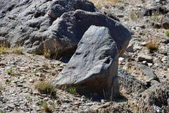 Sten i formen av en mänsklig framsida med en spetsig näsa på kusten av den stora sakrala tibetana sjön Teri Tashi Namtso arkivfoton