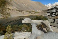 Sten i formen av tigern vid Borith sjön, nordliga Pakistan Arkivbild