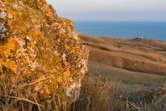 Sten med mossa på solnedgången Royaltyfri Bild