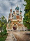 Sten Nicholas Orthodox Cathedral i Nice, Frankrike Fotografering för Bildbyråer