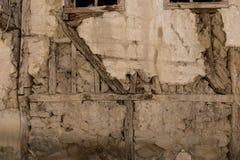 Sten- och träväggbakgrund Fotografering för Bildbyråer
