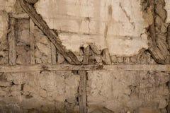 Sten- och träväggbakgrund Royaltyfri Fotografi