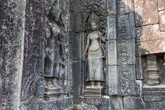 Sten som snider på Angkor Wat Cambodia Arkivbilder
