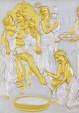 Stena bas-lättnad på basen av forntida grekiska myths royaltyfri bild
