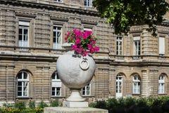 Stena blommavasen utanför fransk senatbyggnad i Jardinen du Luxembourg Arkivfoton