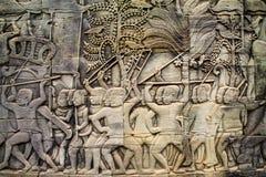 Stena carvings på Angkor Wat, Siem Reap, Cambodja Arkivbild