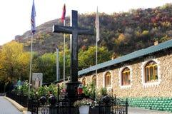 Stena korset i den ortodoxa kloster Saharna, Moldavien Arkivfoto