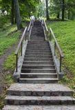 Stena kullen för trappa upp till med ledstänger i båda sidor Fotografering för Bildbyråer