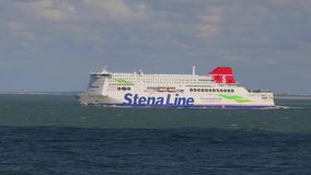 Stena Line Ferry. PORT OF ROTTERDAM, THE NETHERLANDS - SEPTEMBER 12, 2017: Ferry of Stena Line heading out at sea from Rotterdam. Stena line is one of the stock footage