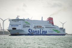 Stena Line Ferry Ship `Stena Britannica`. ROTTERDAM, THE NETHERLANDS - SEP 7, 2017: Stena Line Ferry Ship `Stena Britannica` on its way back to the Rotterdam Stock Images
