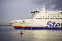 Stena Line Superfast ferry. Stena Line ferry is arriving at Dublin port from UK. Stena Line is one of the world's largest ferry operators and the largest Stock Photo