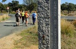 Stena monoliten i via de la Plata nära Castilblanco, det Seville landskapet, Andalusia, Spanien Royaltyfri Fotografi