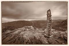 Stena monumentet på toppmötet av monteringen Ulriken Arkivfoton