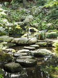 Stena och vatten i den Riykugien trädgården, Tokyo Arkivbild