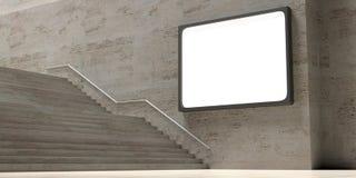 Stena trappa och wblankaffischtavlan på väggen, kopieringsutrymme illustration 3d vektor illustrationer