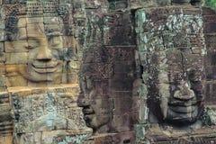 Stena väggmålningar och skulpturer i Angkor Wat, Cambodja Royaltyfri Bild