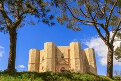 Stenar av Apulia Castel del Monte: den huvudsakliga fasaden - ITALIEN (Andria) - Arkivbild