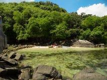 Stenar av La Digue Seychellerna Royaltyfri Foto