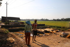 Stenar gör för byggande i Wonosobo Arkivbild