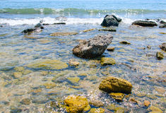 Stenar i bevattna Arkivbild