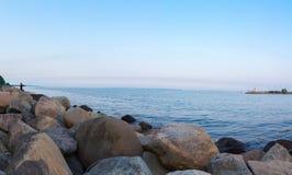 Stenar i den Århus hamnen Royaltyfri Fotografi