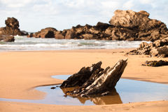 Stenar i den Verdicio stranden Arkivfoto