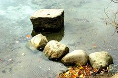 Stenar i waten Arkivfoto