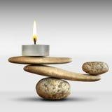 Stenar och stearinljus Fotografering för Bildbyråer