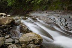 Stenar på banken av skogfloden arkivfoton