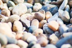 Stenar på kustlinjen royaltyfria foton