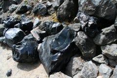 stenblock flödar lavaobsidian Royaltyfri Bild