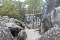 Stenblock på Rocher hjälpträskor, nära Fontainebleau i Frankrike royaltyfria bilder