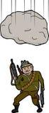 Stenblock som faller på terrorist Arkivfoton