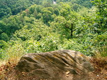 Stenblock som omges av grönska Royaltyfria Bilder