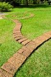 Stenblockwalkwayen i trädgården arkivfoto