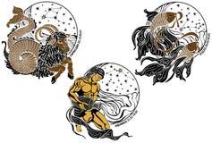 Stenbocken, Vattumannen, Fiskarna och zodiaken undertecknar Arkivbild