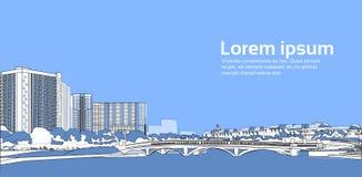 Stenbro över utrymme för kopia för baner för blå för bakgrund för flodcityscape för stad för byggnader sikt för landskap horisont royaltyfri illustrationer