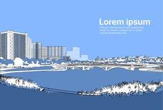Stenbro över utrymme för kopia för sikt för landskap för byggnader för stad för bakgrund för flodcityscapeblått horisontal vektor illustrationer