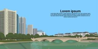 Stenbro över utrymme för kopia för sikt för landskap för byggnader för stad för flodcityscapebakgrund horisontal vektor illustrationer