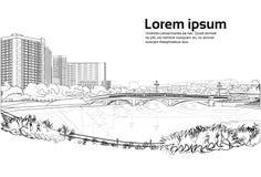 Stenbro över utrymme för kopia för vit för bakgrund för flodcityscape för stad för byggnader sikt för landskap horisontal royaltyfri illustrationer