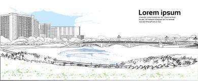 Stenbro över utrymme för kopia för vit för bakgrund för flodcityscape för stad för byggnader sikt för landskap horisontal stock illustrationer