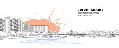 Stenbro över utrymme för kopia för vit för solnedgång för flodcityscape för bakgrund för stad för byggnader sikt för landskap hor royaltyfri illustrationer